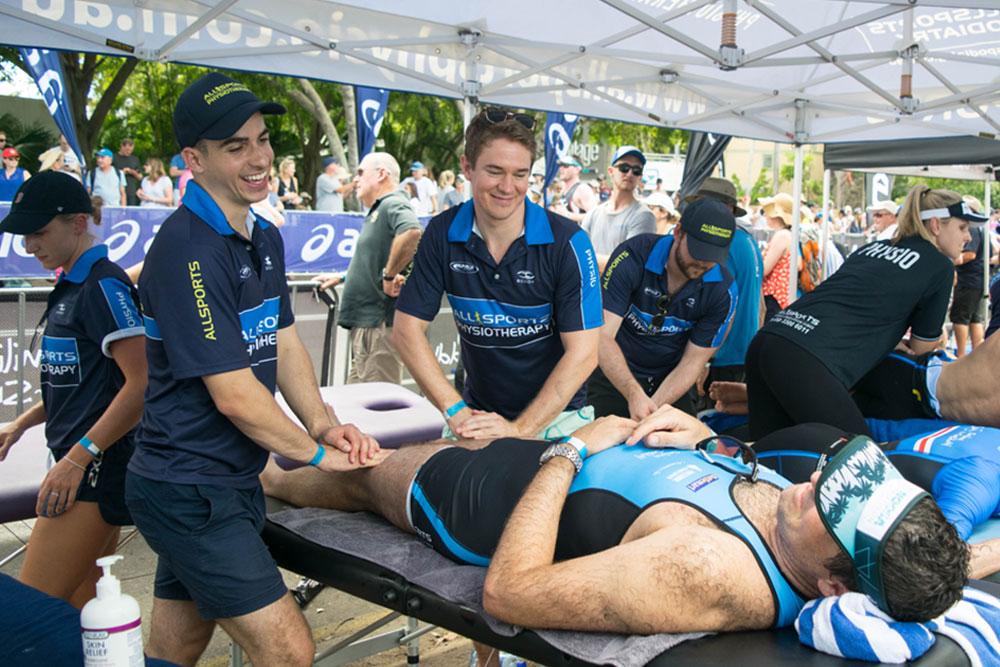 Allsports Physiotherapists treating triathletes at the Noosa Triathlon