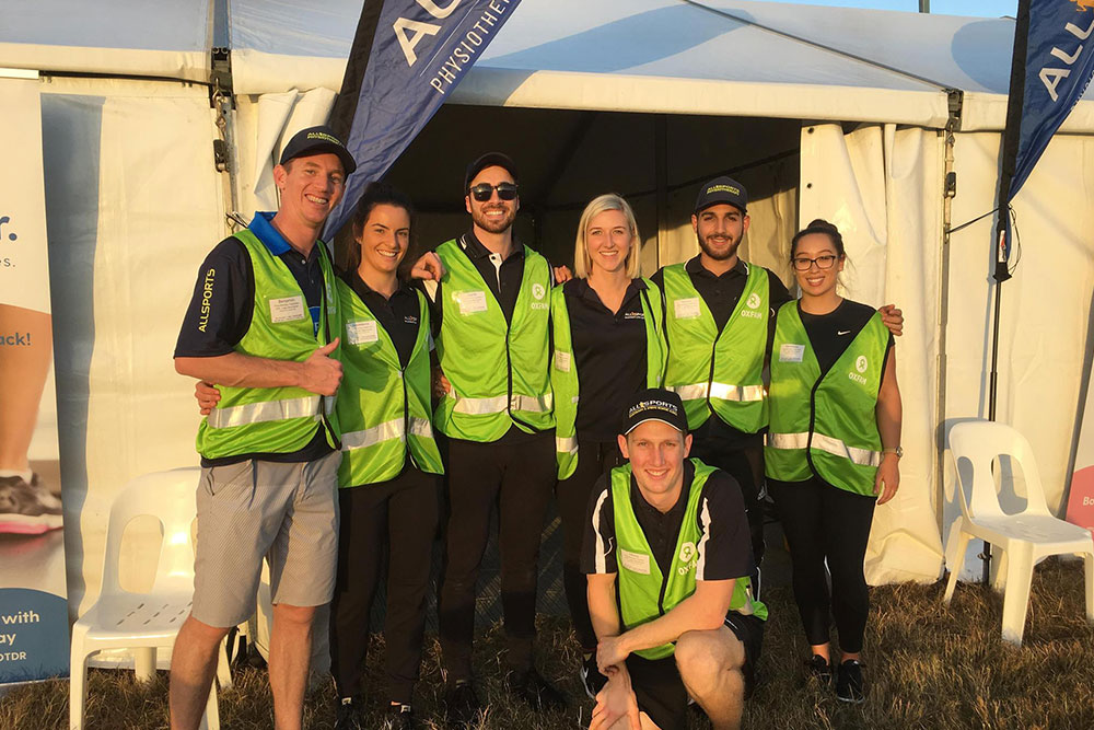 Allsports physiotherapists volunteering at Oxfam Trailwalker