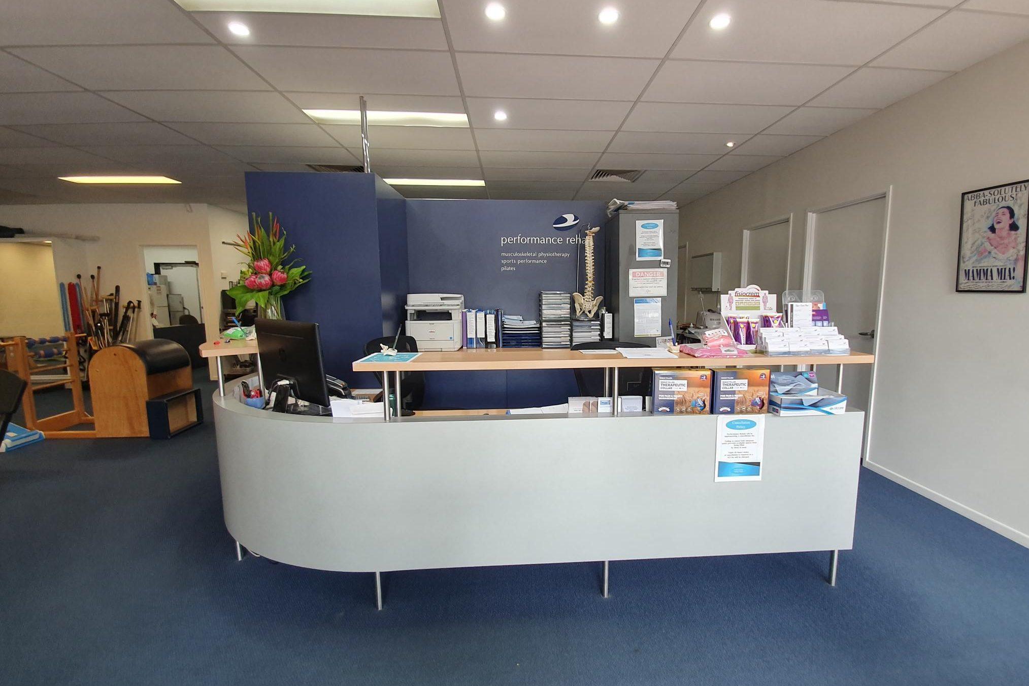 Performance Rehab - reception area